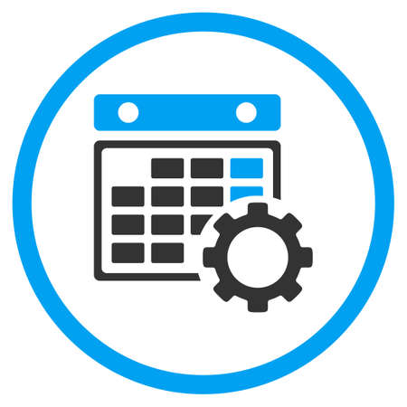 Calendar Configuration glyph icon. Style is bicolor flat circled symbol, blue and gray colors, rounded angles, white background.