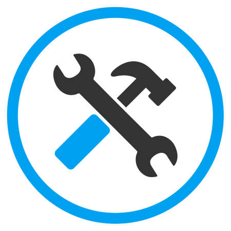 Hammer And Wrench glyph icon. Style is bicolor flat circled symbol, blue and gray colors, rounded angles, white background.