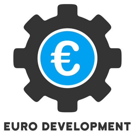 Euro Development glyph icon with caption. Style is a flat symbol with rounded angles, light blue and gray colors.