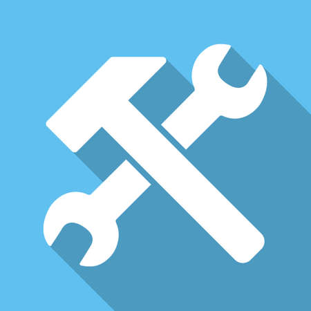 Hammer And Wrench long shadow glyph icon. Style is a white flat symbol on a light-blue square background.