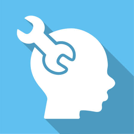 Mind Service long shadow glyph icon. Style is a white flat symbol on a light-blue square background.