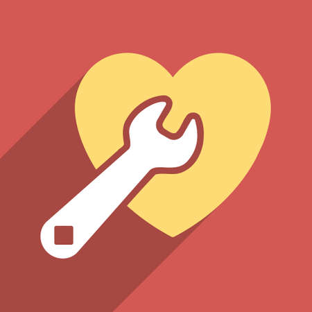 Heart Repair long shadow vector icon. Style is a flat light symbol with rounded angles on a red square background.