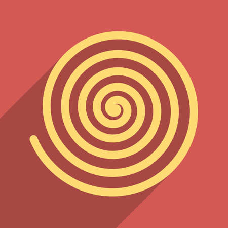Hypnosis long shadow vector icon. Style is a flat light symbol with rounded angles on a red square background.