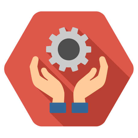 Engine Maintenance long shadow glyph icon. Style is a flat symbol on a colored rounded hexagon button with longshadow.