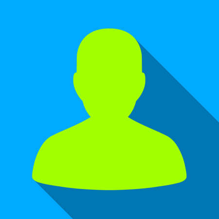 User Portrait long shadow vector icon. Style is a flat light symbol with rounded angles on a blue square background.