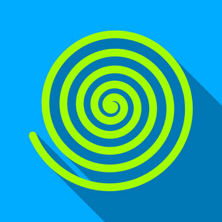 Hypnosis Spiral long shadow raster icon. Style is a flat light symbol with rounded angles on a blue square background.