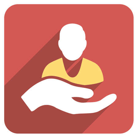 Patient Assistance long shadow glyph icon. Style is a flat symbol on a red rounded square button.