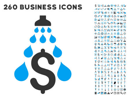 Illustration pour Money Laundering icon within 260 vector business pictogram set. Style is bicolor flat symbols, light blue and gray colors, white background. - image libre de droit