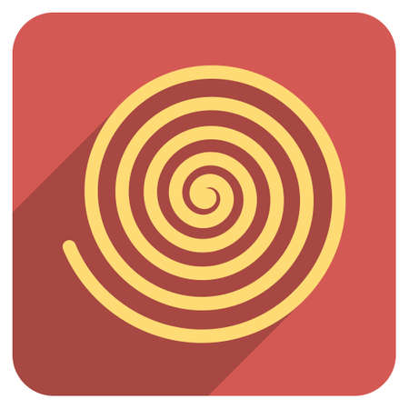 Hypnosis long shadow vector icon. Style is a flat symbol on a red rounded square button.