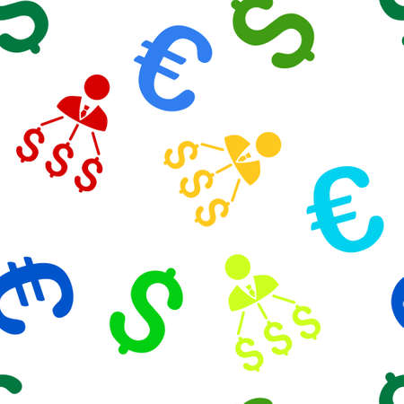 Businessman Expenses glyph repeatable pattern with dollar and euro currency symbols. Style is flat colored icons on a white background.