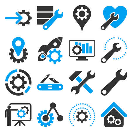 Illustration pour Options and service tools icon set. Vector style is flat bicolor symbols, blue and gray colors, rounded angles, white background. - image libre de droit