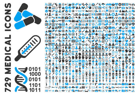 Illustration pour Medical Icon Clipart with 729 vector icons. Style is bicolor blue and gray flat icons isolated on a white background. - image libre de droit