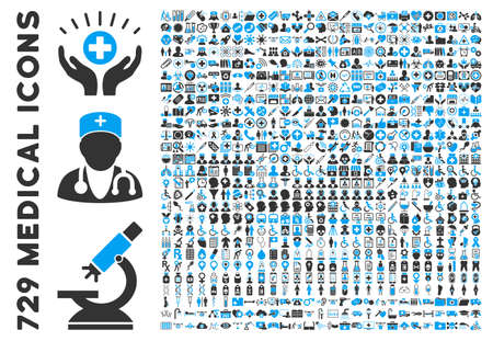 Foto de Medical Icon Collection with 729 glyph icons. Style is bicolor blue and gray flat icons isolated on a white background. - Imagen libre de derechos