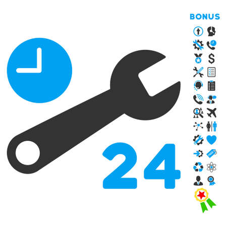 Service Hours icon with bonus pictograms. Glyph style is bicolor flat iconic symbol with rounded angles, blue and gray colors, white background.