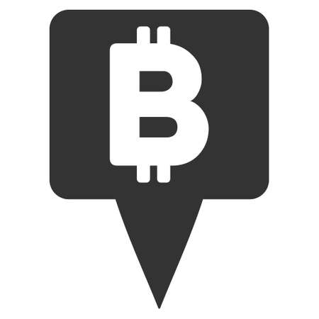 Illustration pour Bitcoin Map Pointer icon. Vector style is flat iconic symbol with rounded angles, gray color, white background. - image libre de droit