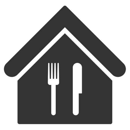 Restaurant icon. Glyph style is flat iconic symbol, gray color, white background.