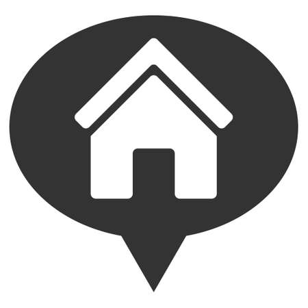 House Info Balloon icon. Glyph style is flat iconic symbol, gray color, white background.