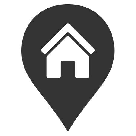 Realty Map Marker icon. Vector style is flat iconic symbol, gray color, white background.