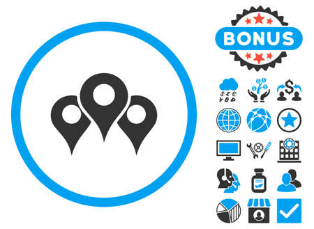 Locations icon with bonus. Vector illustration style is flat iconic bicolor symbols, blue and gray colors, white background.