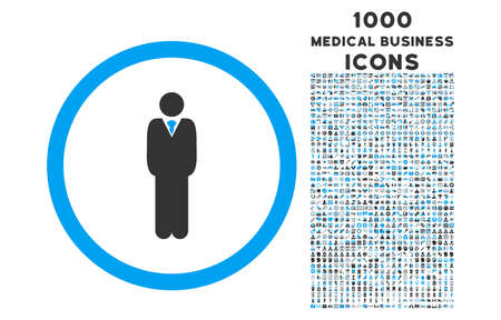 Manager rounded vector bicolor icon with 1000 medical business icons. Set style is flat pictograms, blue and gray colors, white background.