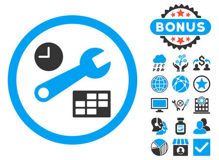 Date and Time Setup icon with bonus images. Glyph illustration style is flat iconic bicolor symbols, blue and gray colors, white background.