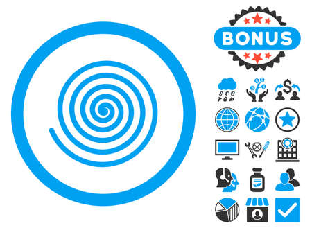 Hypnosis icon with bonus images. Glyph illustration style is flat iconic bicolor symbols, blue and gray colors, white background.