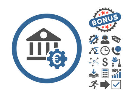 Euro Bank Settings icon with bonus images  Vector