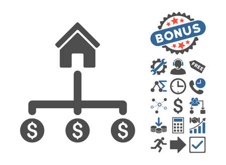 Building Payments icon with bonus pictures. Glyph illustration style is flat iconic bicolor symbols, cobalt and gray colors, white background.