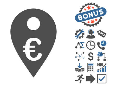 Euro Map Marker pictograph with bonus clip art. Glyph illustration style is flat iconic bicolor symbols, cobalt and gray colors, white background.