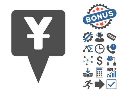 Yuan Map Pointer icon with bonus clip art. Glyph illustration style is flat iconic bicolor symbols, cobalt and gray colors, white background.