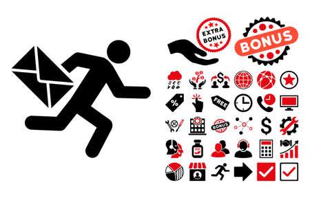 Illustration pour Mail Courier pictograph with bonus clip art. Vector illustration style is flat iconic bicolor symbols, intensive red and black colors, white background. - image libre de droit