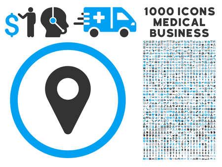 Illustration pour Map Marker icon with 1000 medical commerce gray and blue vector design elements. Set style is flat bicolor symbols, white background. - image libre de droit