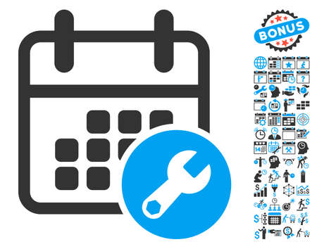 Calendar Setup pictograph with bonus calendar and time management graphic icons. Glyph illustration style is flat iconic bicolor symbols, blue and gray colors, white background.
