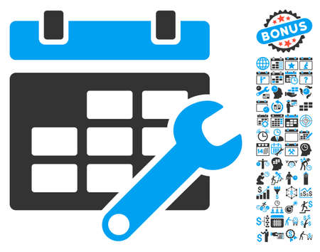 Timetable Options pictograph with bonus calendar and time management images. Glyph illustration style is flat iconic bicolor symbols, blue and gray colors, white background.