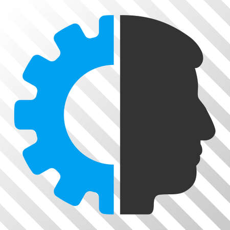Blue And Gray Android Head toolbar pictogram  Vector