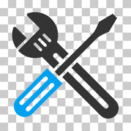 Ilustración de Blue And Gray Spanner and Screwdriver toolbar pictogram. Vector pictograph style is a flat bicolor symbol on chess transparent background. - Imagen libre de derechos