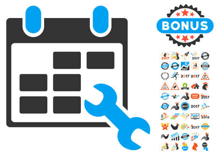 Configure Timetable pictograph with bonus 2017 new year pictures. Vector illustration style is flat iconic symbols,modern colors.