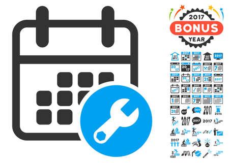 Calendar Setup pictograph with bonus 2017 new year clip art. Glyph illustration style is flat iconic symbols,modern colors.