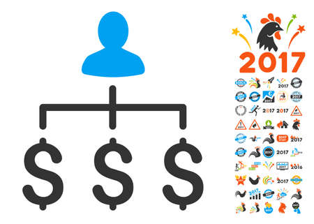 Money Collector pictograph with bonus 2017 new year icon set. Glyph illustration style is flat iconic symbols,modern colors.