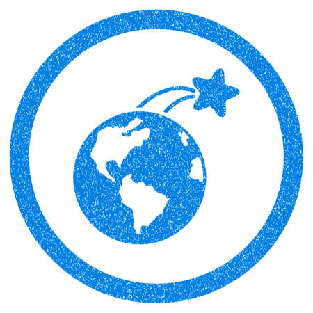 Rounded Rising Satellite On Earth rubber seal stamp watermark. Icon symbol inside circle with grunge design and dust texture. Unclean vector blue sticker.