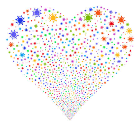 Sun fireworks with heart shape. Vector illustration style is flat bright multicolored iconic symbols on a white background. Object heart made from random symbols.