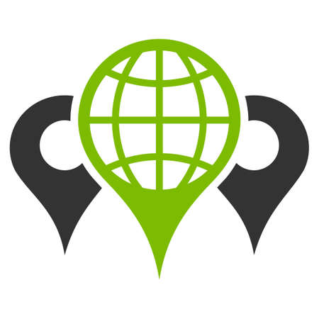 Locations vector icon. Flat bicolor eco green and gray symbol. Pictogram is isolated on a white background. Designed for web and software interfaces.