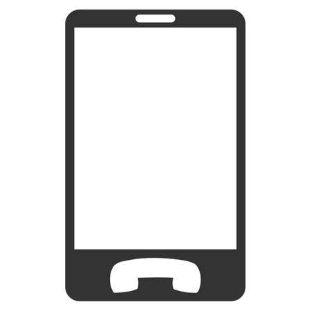 Ilustración de Mobile Phone vector icon. Flat gray symbol. Pictogram is isolated on a white background. Designed for web and software interfaces. - Imagen libre de derechos