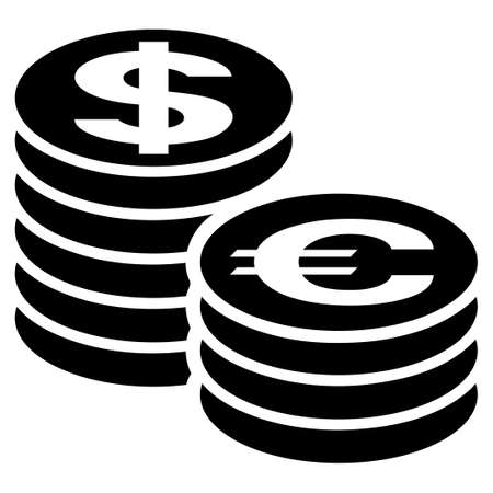 Euro And Dollar Coin Columns raster icon. Flat black symbol. Pictogram is isolated on a white background. Designed for web and software interfaces.