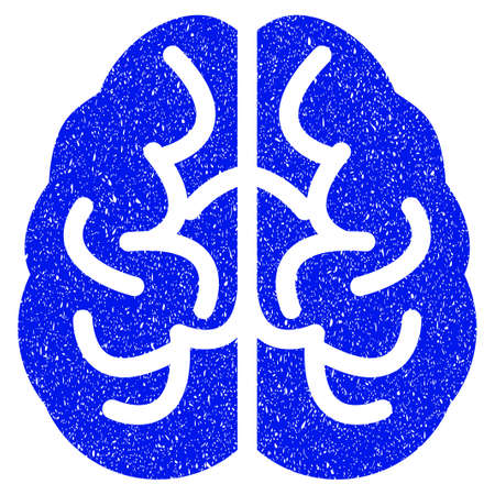 Illustration pour Grunge Brain icon with grunge design and dirty texture. Unclean vector blue pictogram for rubber seal stamp imitations and watermarks. Draft sticker symbol. - image libre de droit