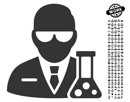 scientist icon with black bonus profession design elements scientist vector illustration style is a flat gray iconic element for web design app user interfaces royalty free vector graphics royalty free vector graphics