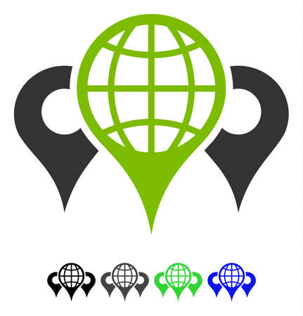 Locations flat vector pictogram. Locations icon with gray, black, blue, green color versions.