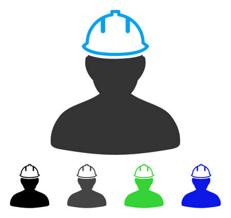 Illustration for Person In Hardhat flat vector illustration. Colored person in hardhat gray, black, blue, green pictogram versions. Flat icon style for application design. - Royalty Free Image