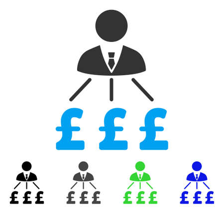 Businessman Pound Expenses flat vector pictograph. Colored businessman pound expenses gray, black, blue, green pictogram versions. Flat icon style for graphic design.