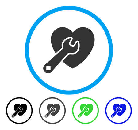 Heart Repair rounded icon. Vector illustration style is a flat iconic symbol inside a circle, black, grey, blue, green versions. Designed for web and software interfaces.